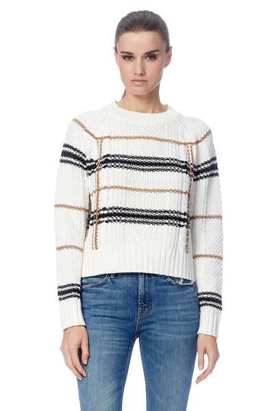 Ella Crew Neck Sweater - White/Camel/Black