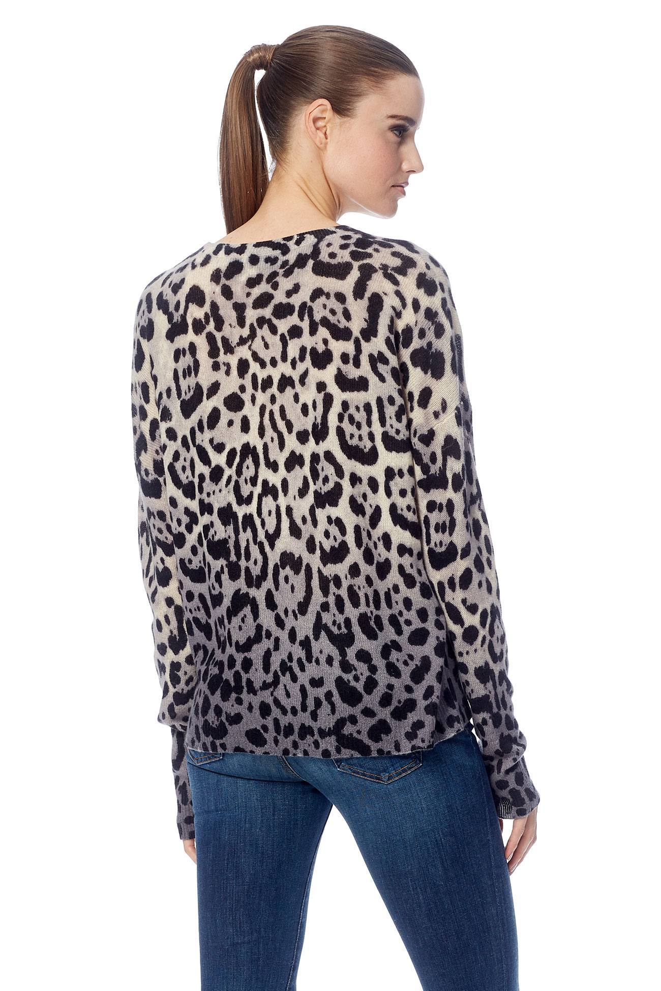 Juliana Crew Neck Sweater - Leopard Print/Dip Dye