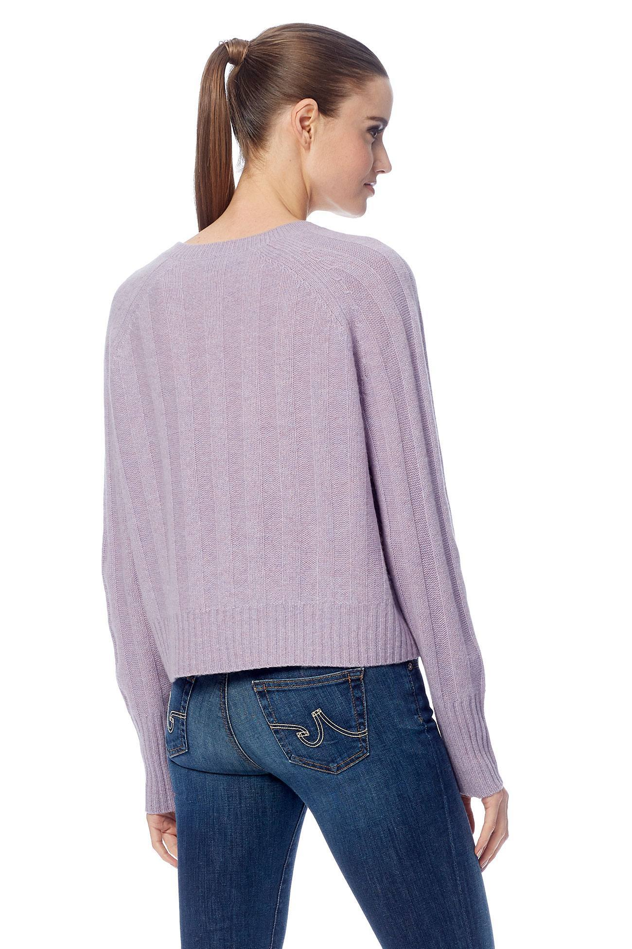 Londyn Wide Ribbed V-Neck Sweater - Wisteria
