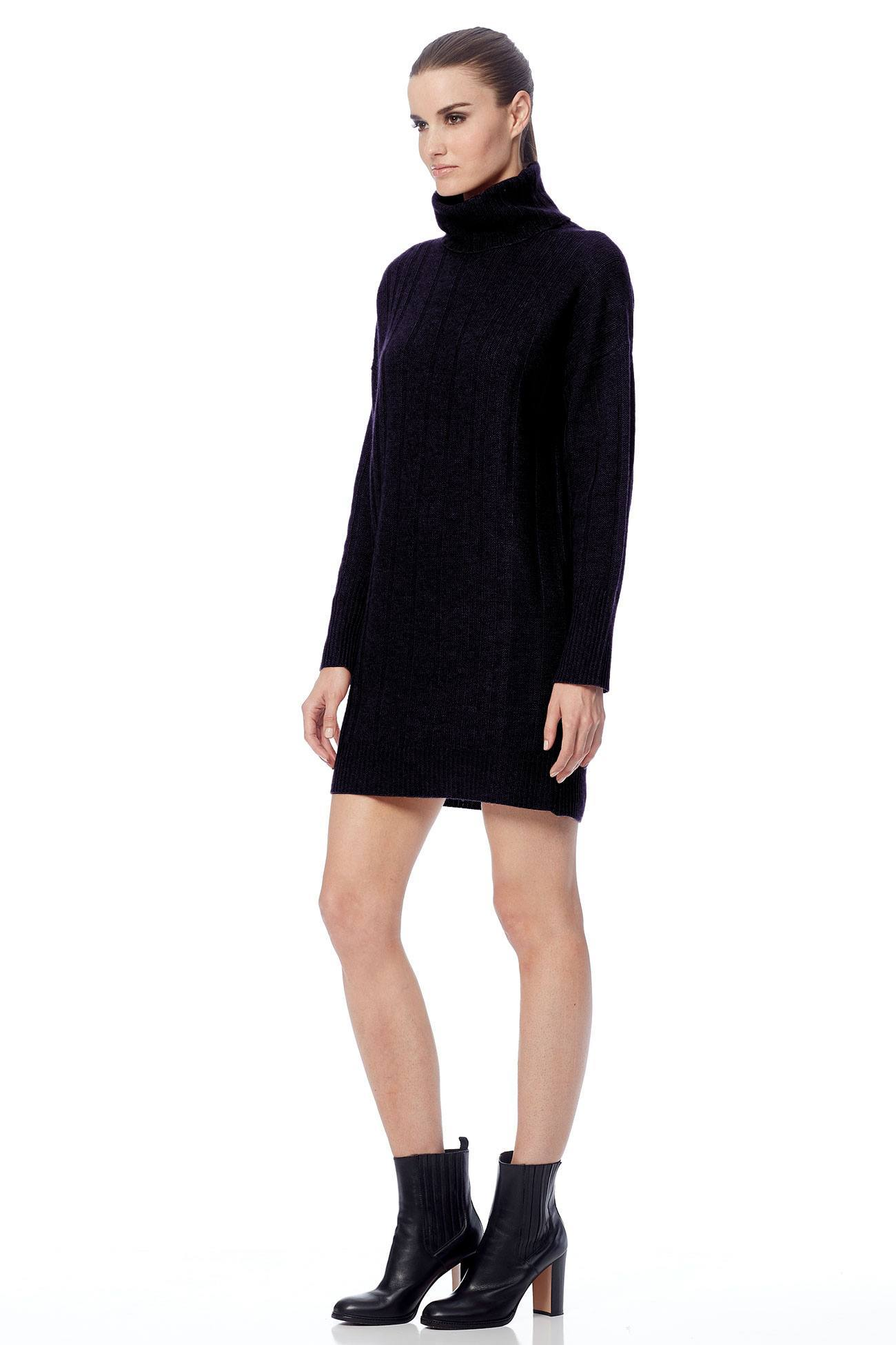 Daniela Cozy Turtleneck Sweater Dress - Black