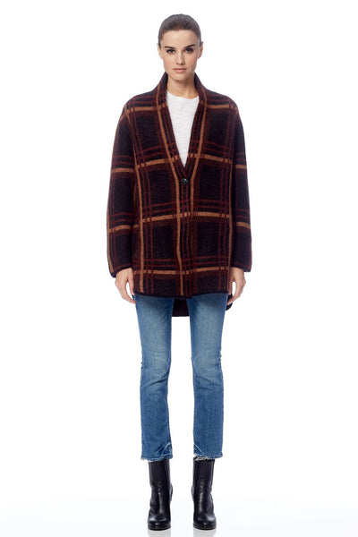 Phillipa Plaid Cardigan - Black/Shiraz/Butterscotch