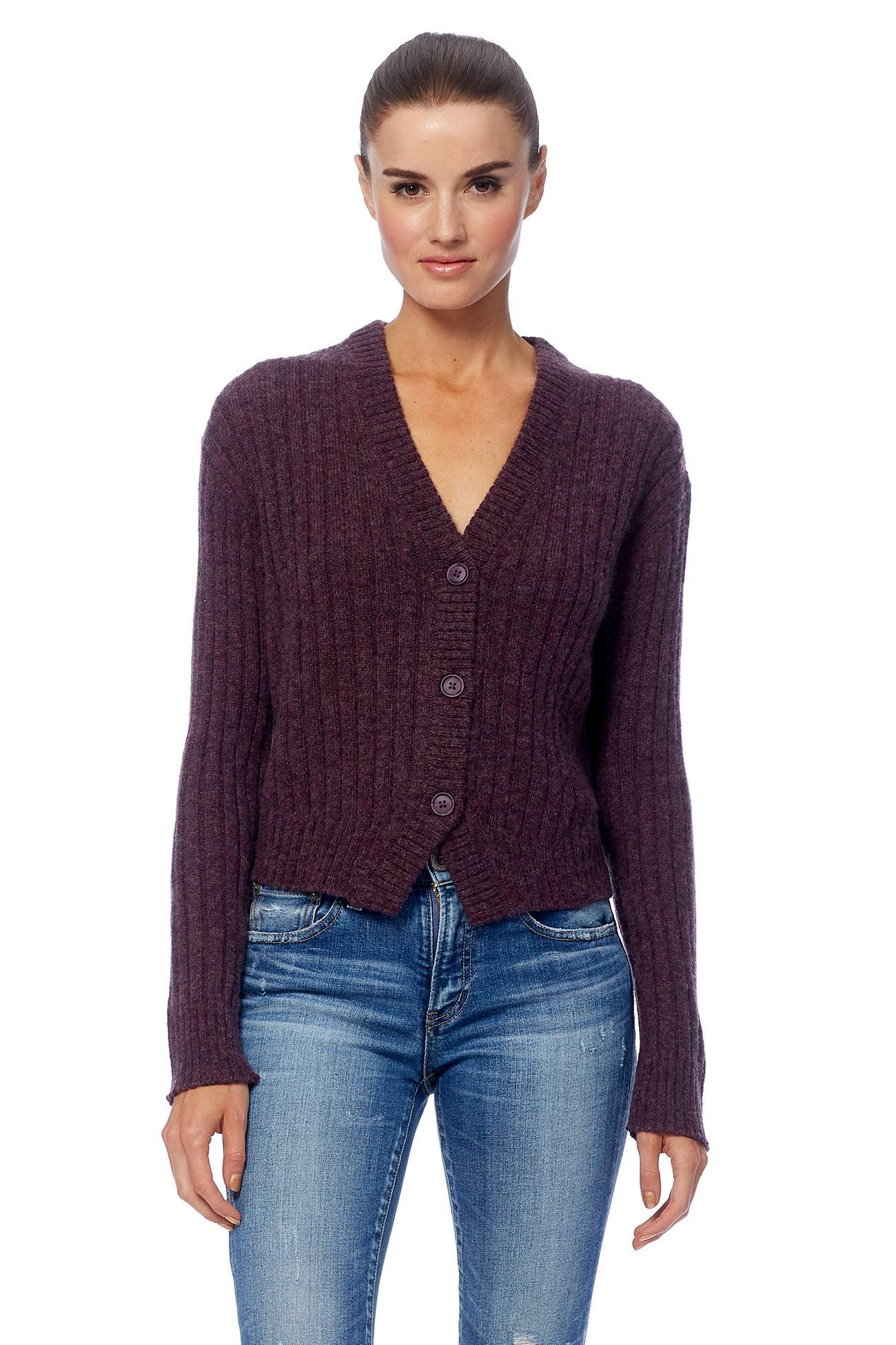 Poppy Button Front Ribbed Cardi - Aubergine