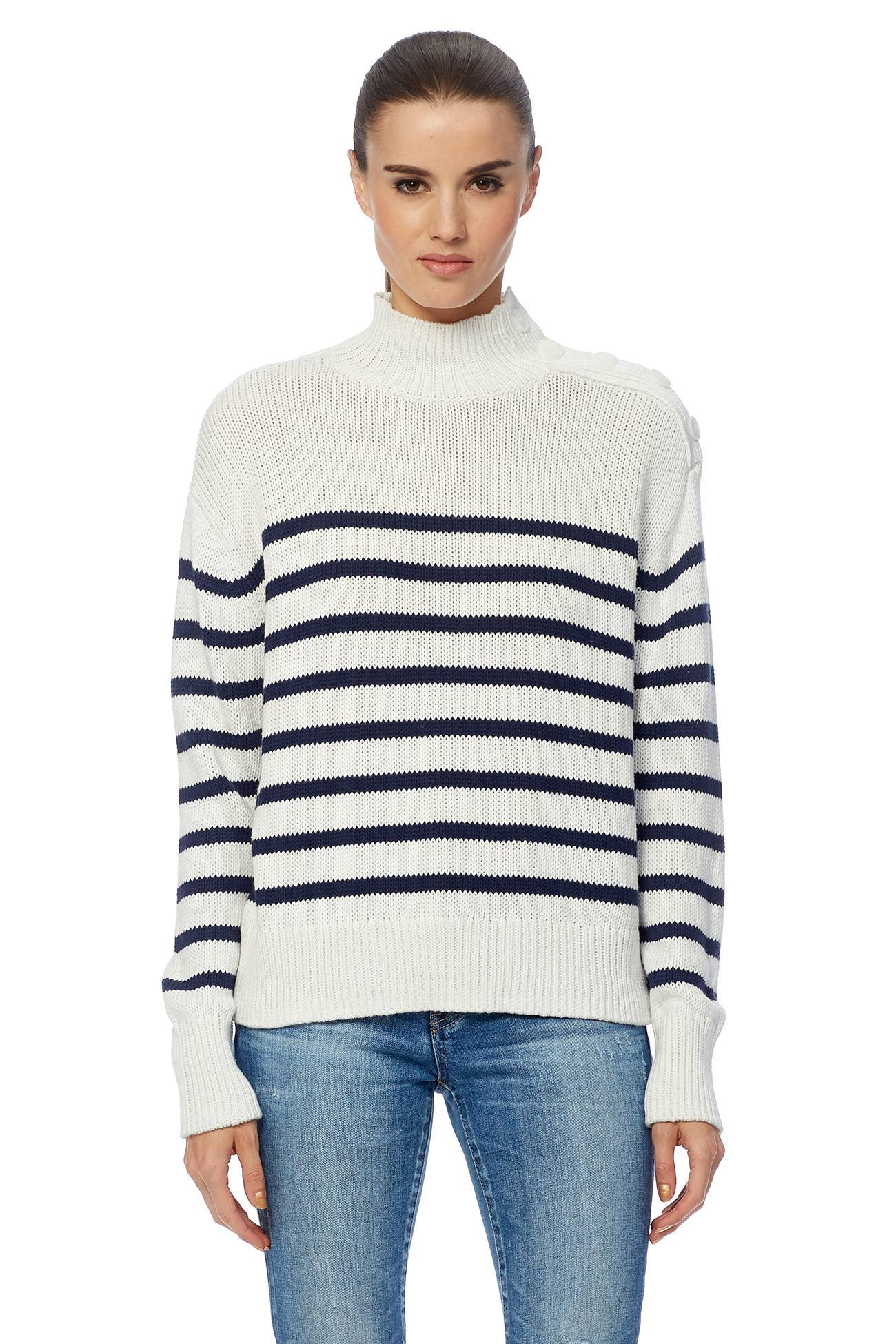 Macie Turtleneck Sweater - White/Navy