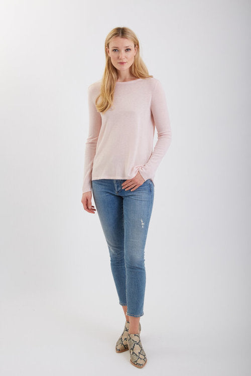 Crew Neck Sweater w/ Pleated Back - Ballet Pink