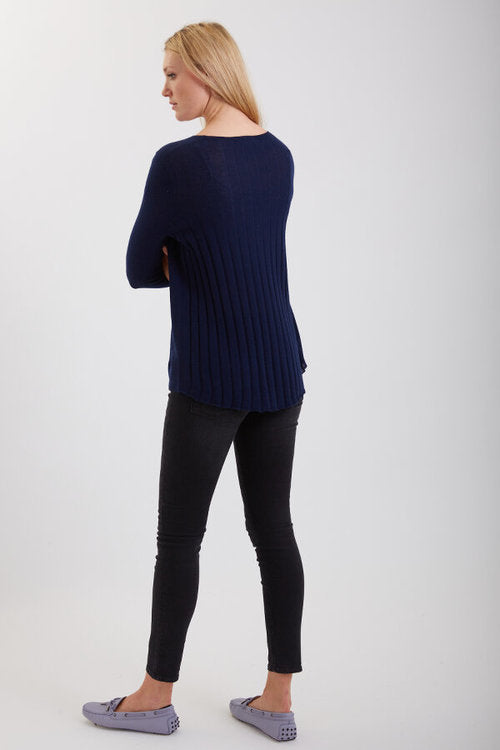 Crew Neck Sweater w/ Pleated Back - Navy