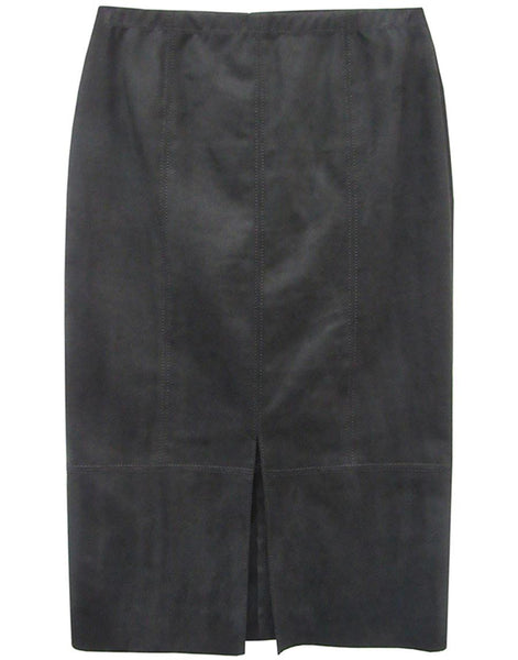 Faux Suede Front Slit Skirt - Black