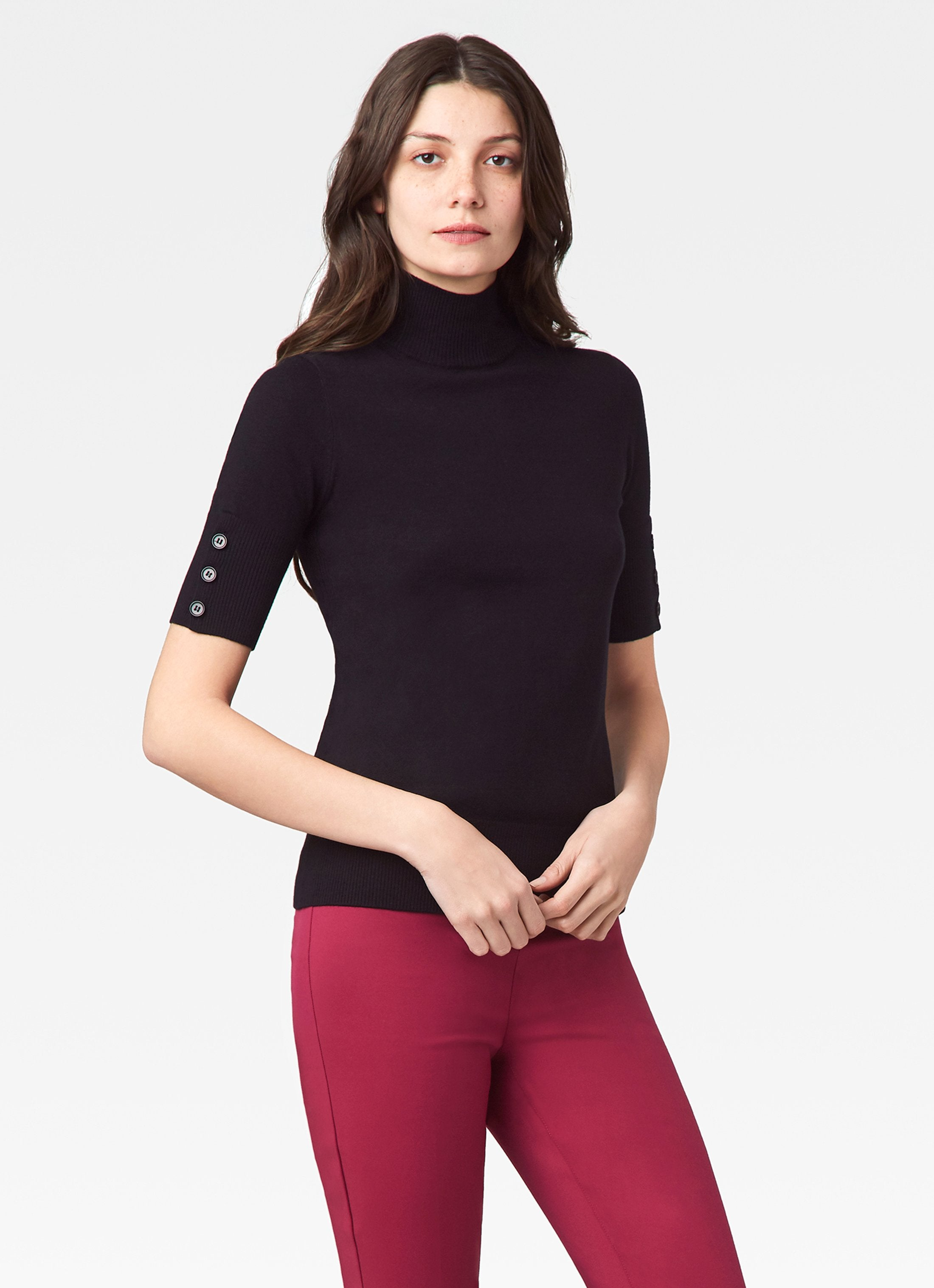Mock Neck Sweater w/ Button Sleeve Detail - Black
