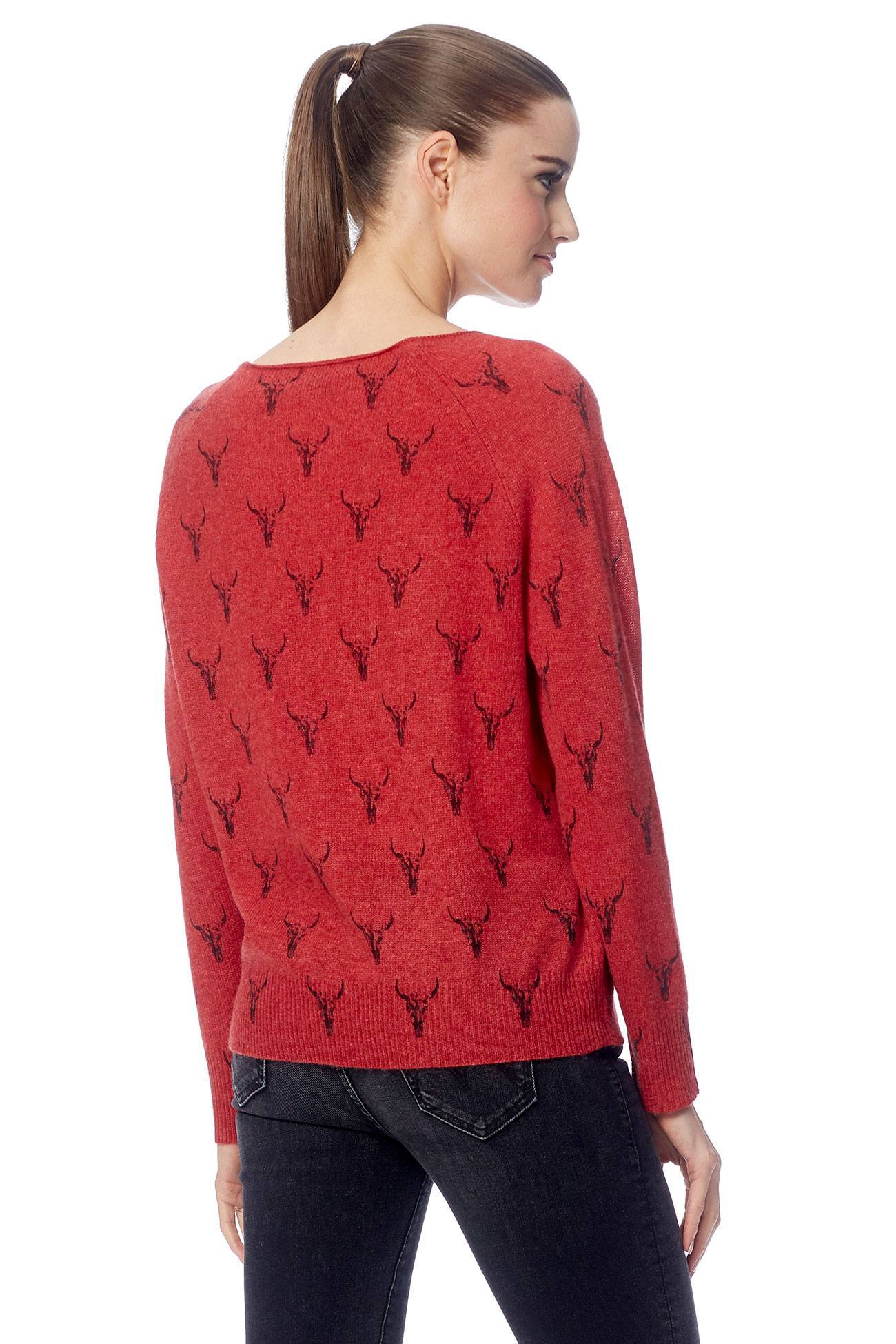 Dawson Boat Neck Sweater - Brick/Charcoal Print