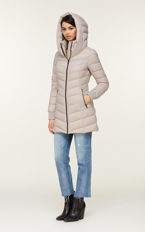 Alanis Water Repellent Lightweight Down Coat - Sandstone