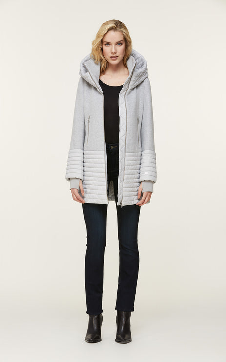 Avery-N Mixed Media Coat - Silverash