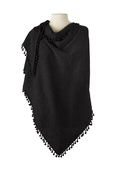 Pom-Pom Triangle Wrap - Black