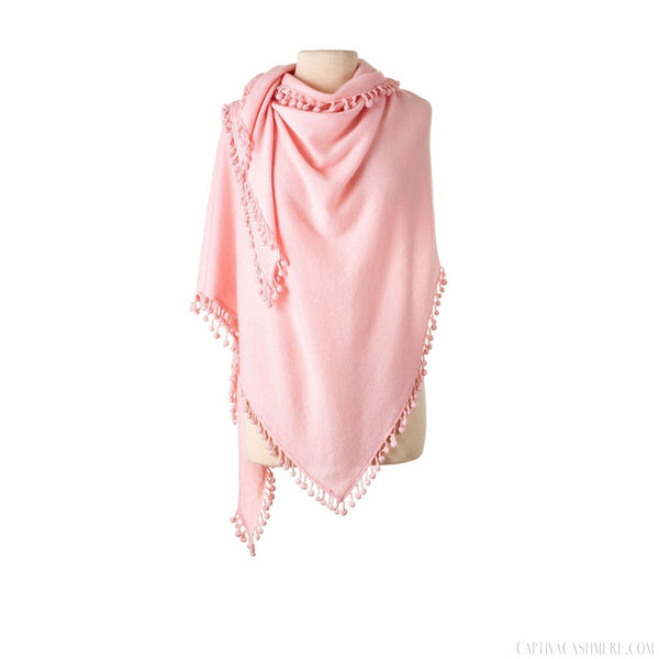 Pom-Pom Triangle Wrap - Blush