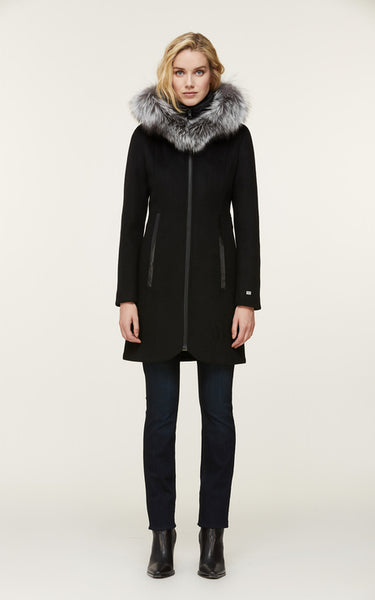 Charlena-XN Wool Coat w/ Fox Fur - Black