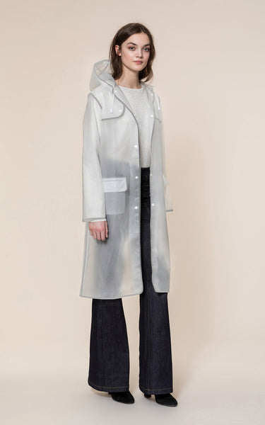 Coralie Knee Length Raincoat - Cloud