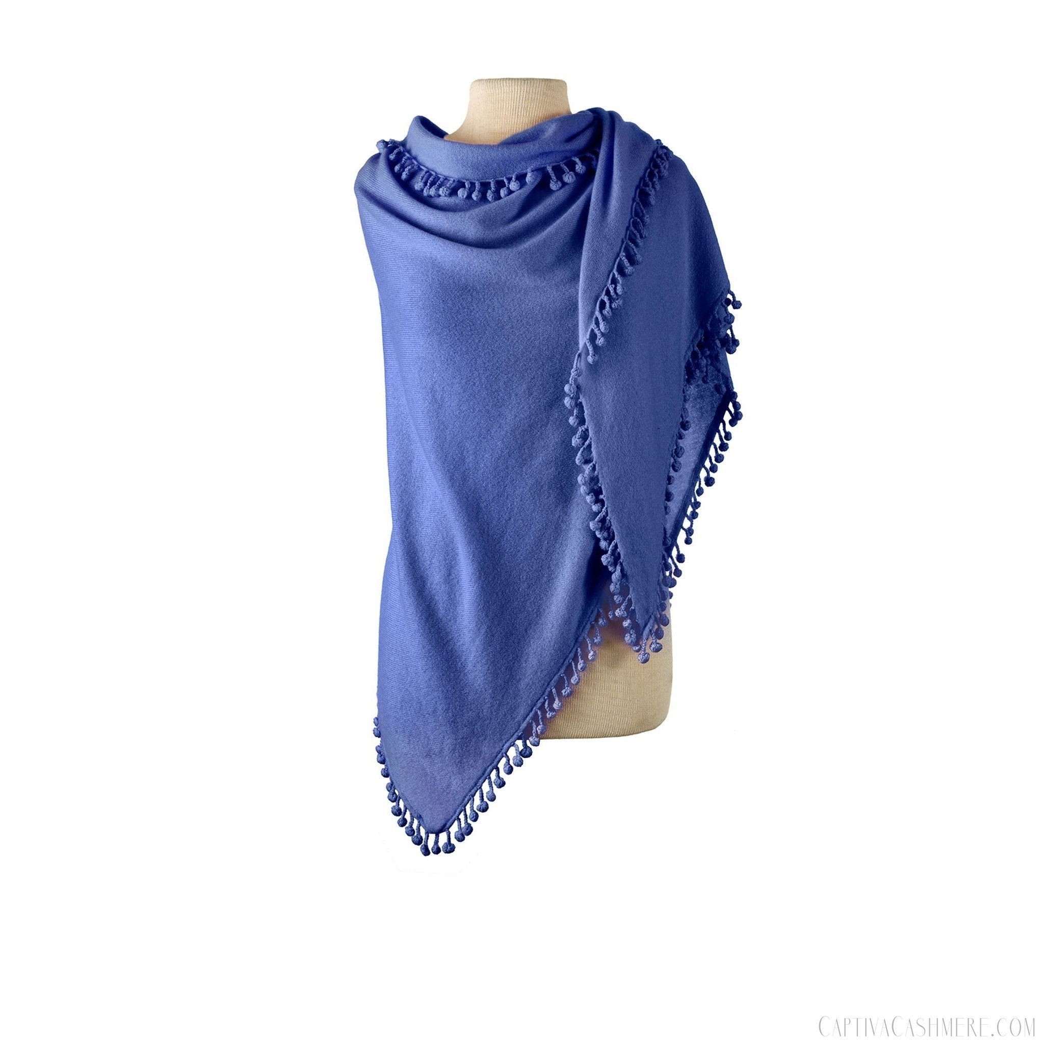 Pom-Pom Triangle Wrap - Cornflower