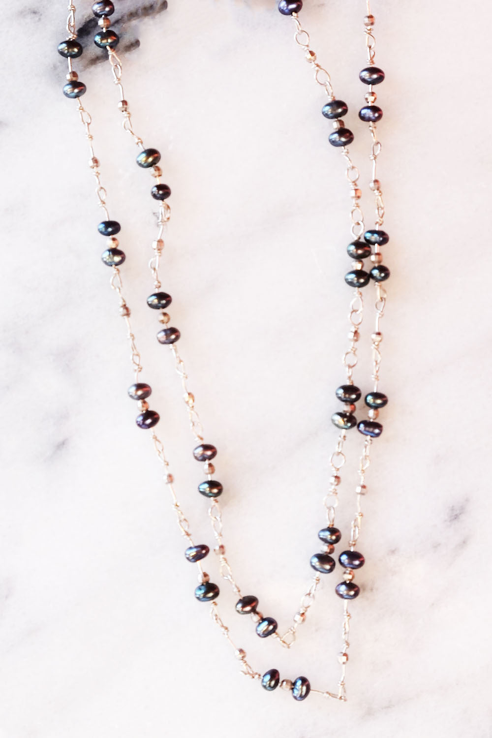 Long Blue Pearl Layering Necklace