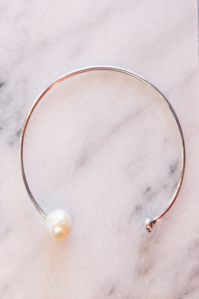 Chan Luu White Pearl Diamond Cuff