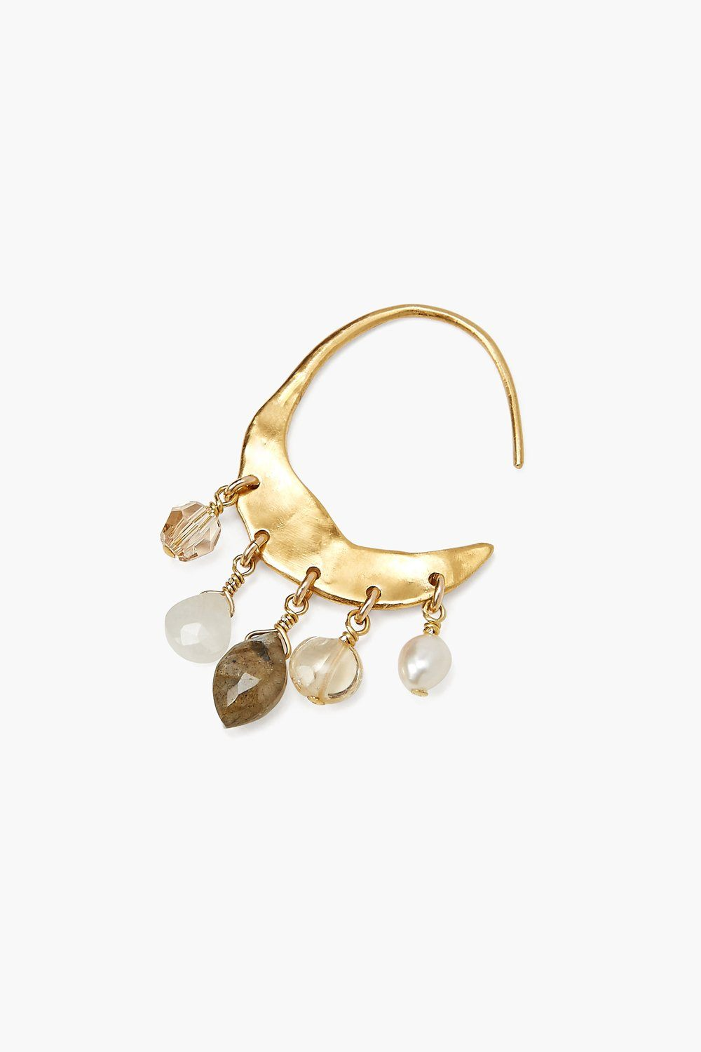 Crescent White Pearl and Citrine Mix Gold Hoop Earrings