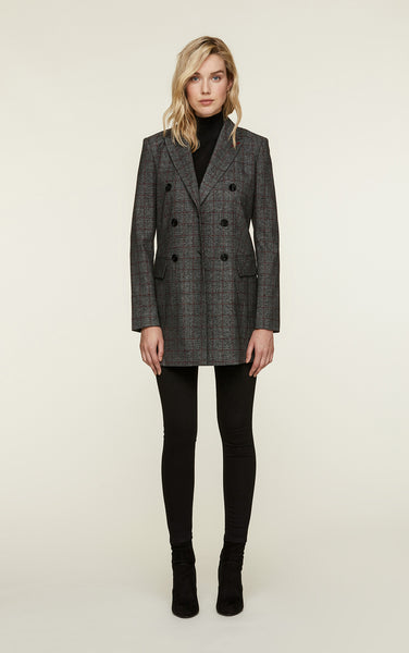 Fabriana-P Double Breasted Blazer - Charcoal