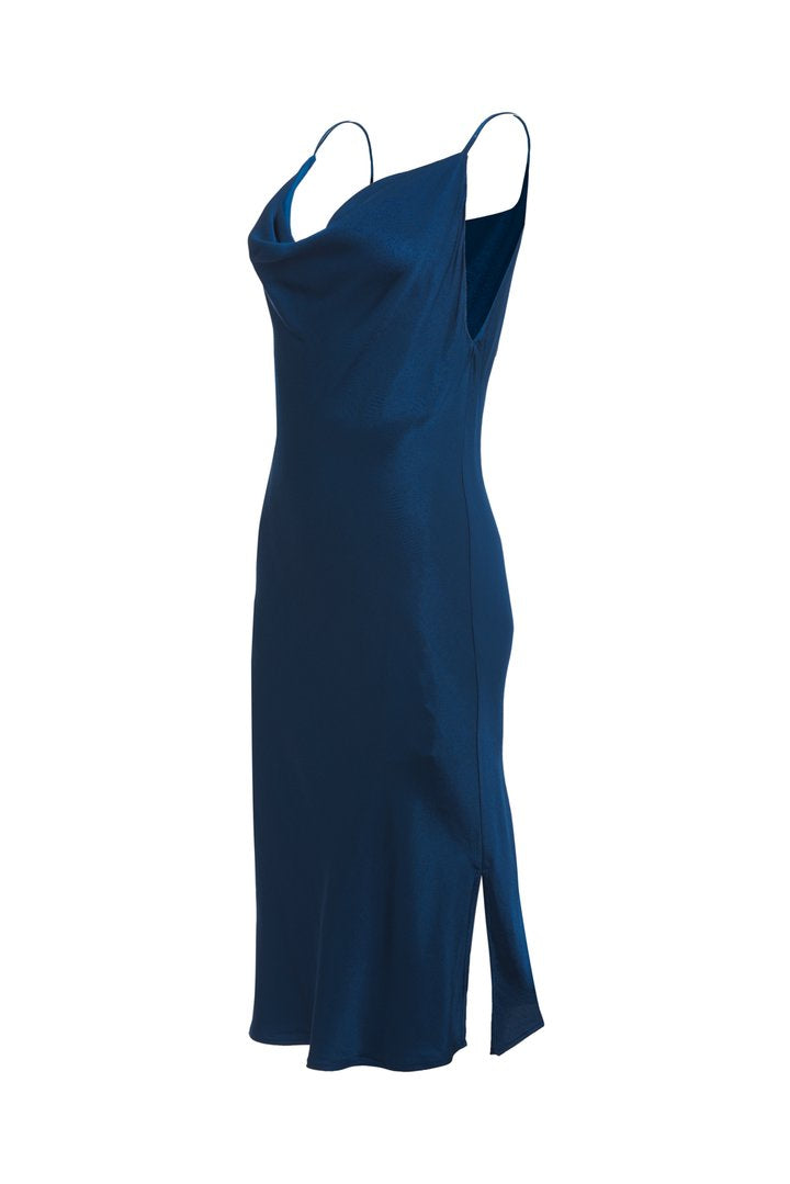 Hayley Cowl Dress - Tanzanite Blue