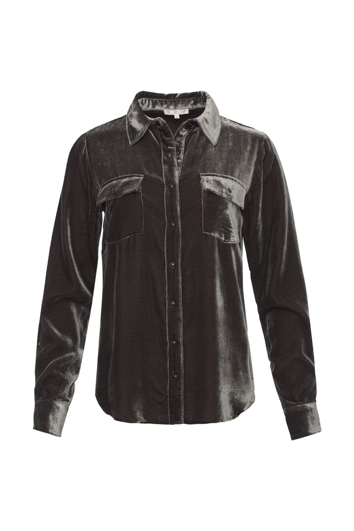 Velvet Long Sleeve Shirt - Pewter