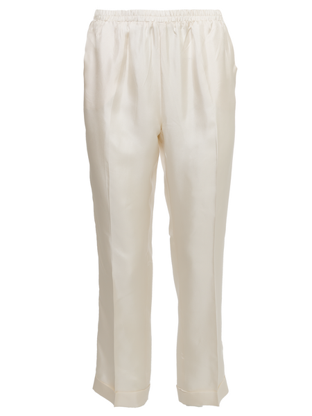 Silk Twill Cuff Pants - Dove