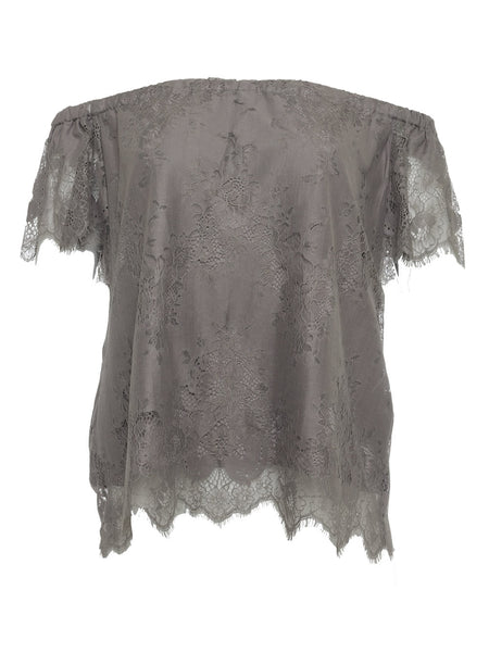 Suzy Zig Zag Lace Top - Steeple Grey