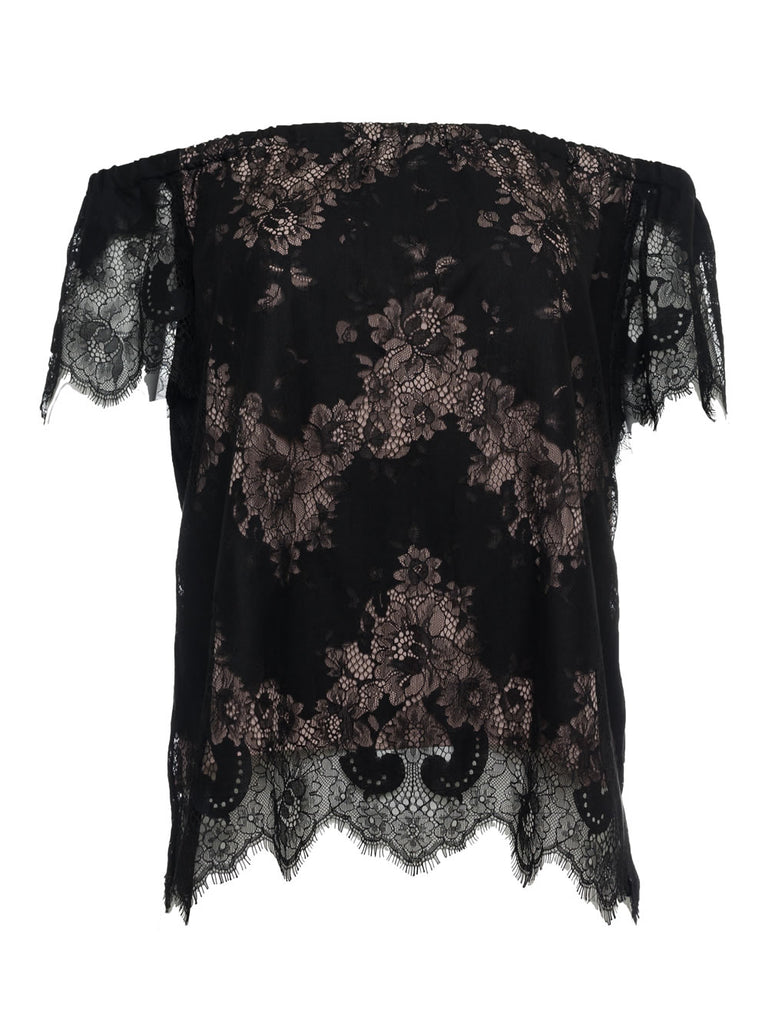 Suzy Zig Zag Lace Top - Black
