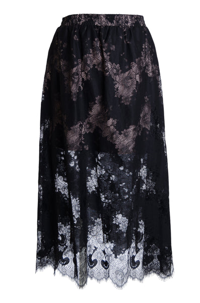Suzy Zig Zag Lace Skirt - Black