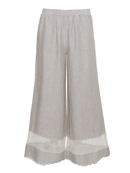 Capri Lace Linen Pants - Birch