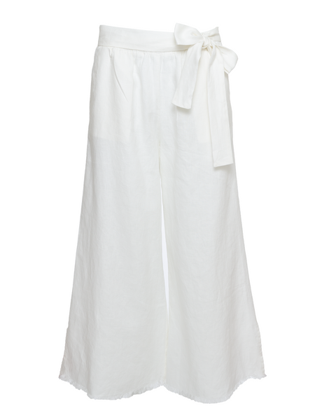 Wide Leg Linen Belted Pants - Dove