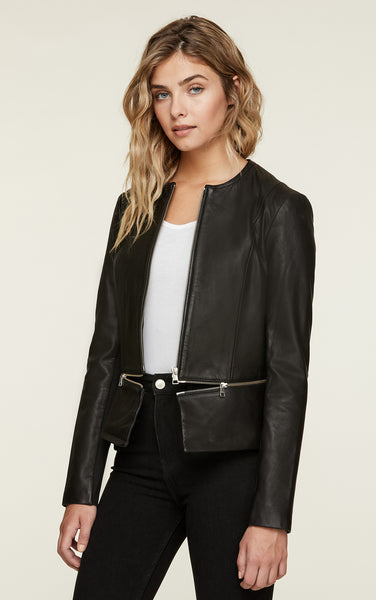Heidi Slim Fit Leather Jacket - Black