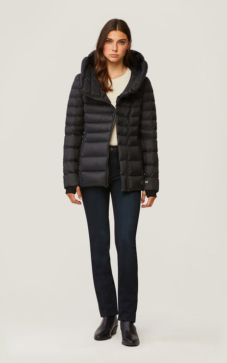 Jacinda-N Down Jacket w/ Wide Hood - Black