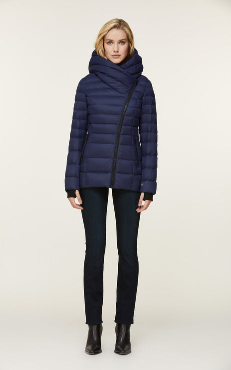 Jacinda-N Down Jacket w/ Wide Hood - Lapis