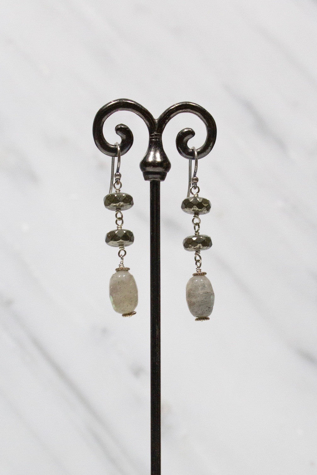 Silver, Labradorite, and Pyrite Earrings