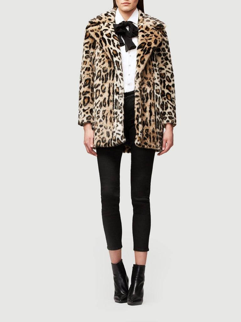 Cheetah Faux Fur Coat - Multi Tan