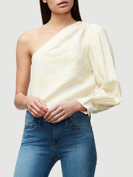 One Side Stripe Linen Top - Golden Haze Multi