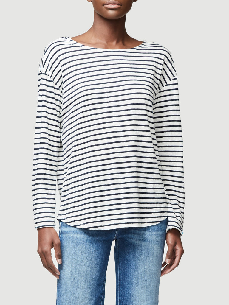 Open Neck Long Sleeve Tee - Blanc Multi
