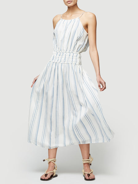 Gathered Waist Dress - Blanc Multi
