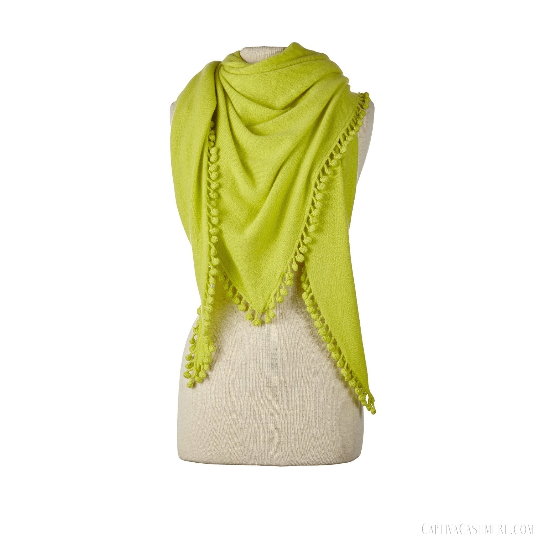 Pom-Pom Triangle Wrap - Lime
