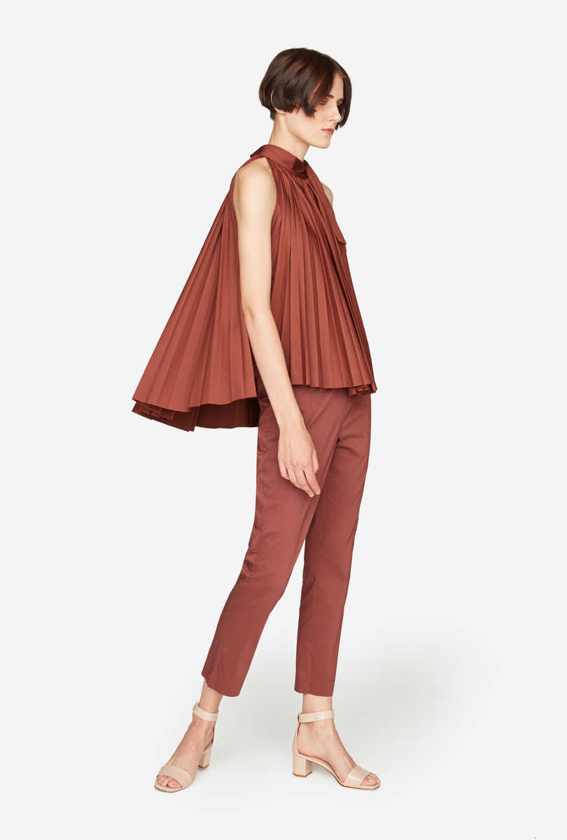 Flared Pleated Top - Cherrywood