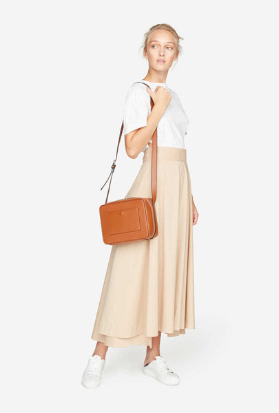 Long Flared Skirt w/ Sash at Waist - Sand