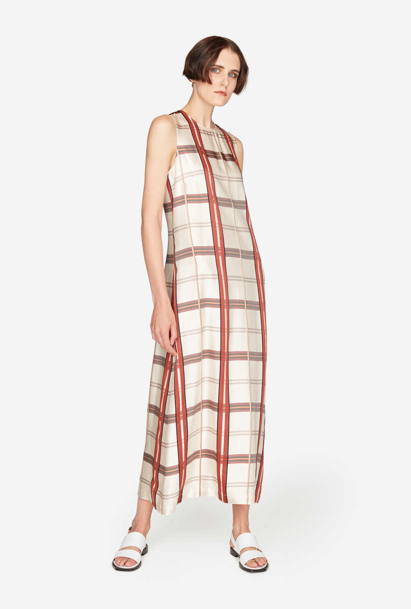 Long Madras Jacquard Dress - Check Base Sand