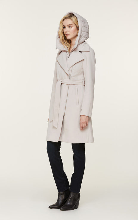 Perle Mixed Media Coat  - Sandstone