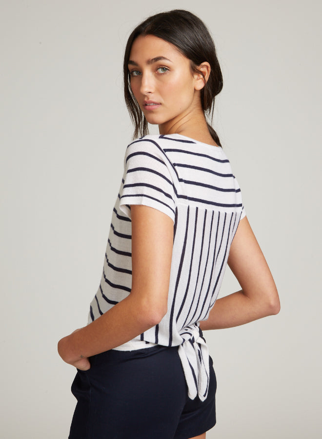 Striped Tie Back Tee - Moonlight/Peacoat