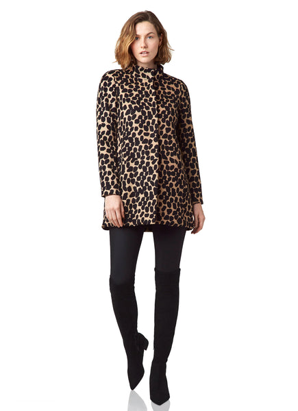 Printed Funnel Neck Jacket - Mod Animal
