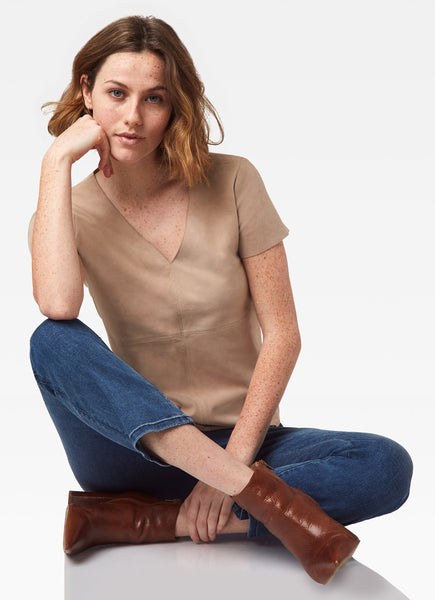 Butterfly Soft Suede Tee - Chamois