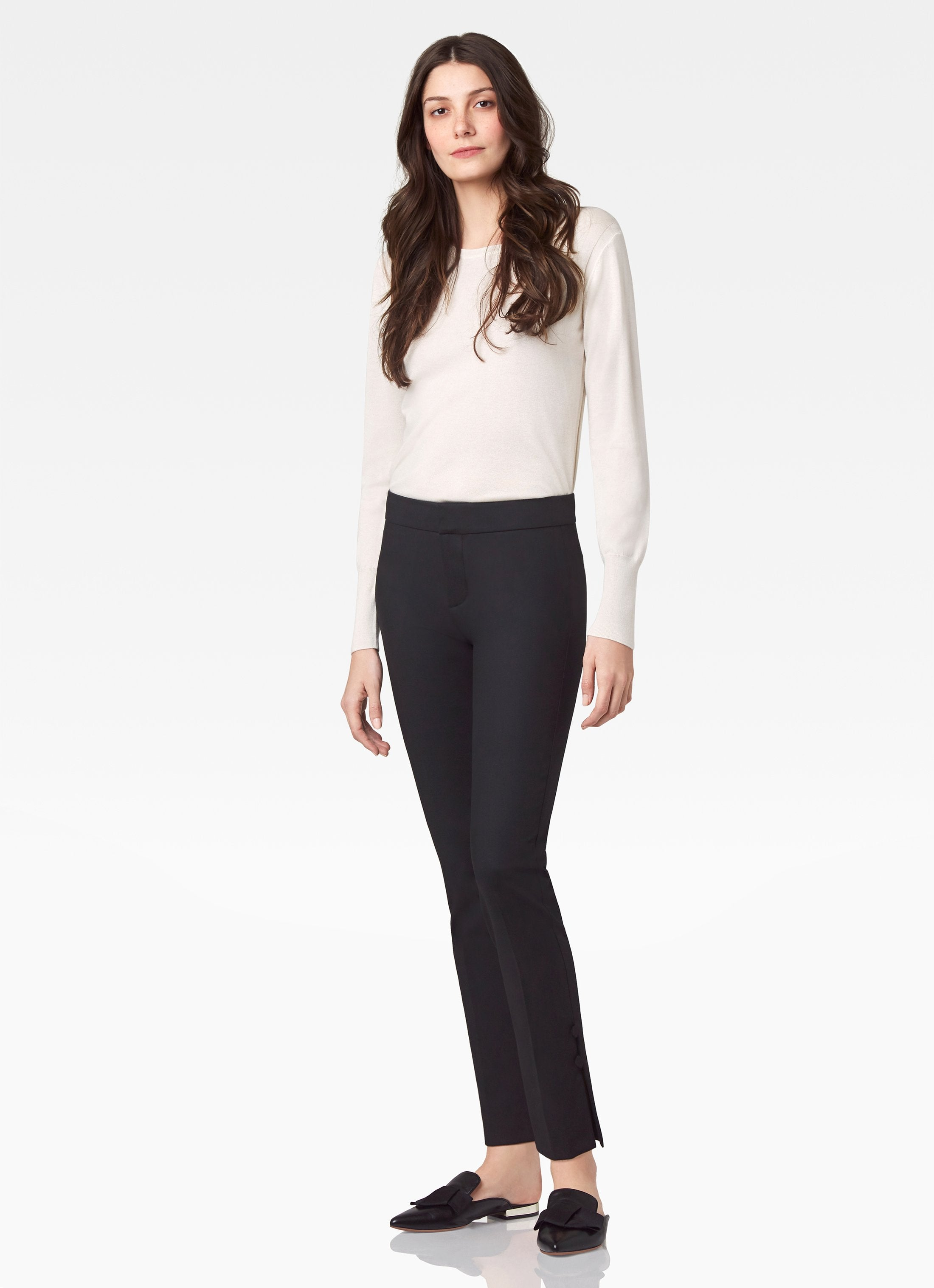 Lenox Button Ankle Pant - Black