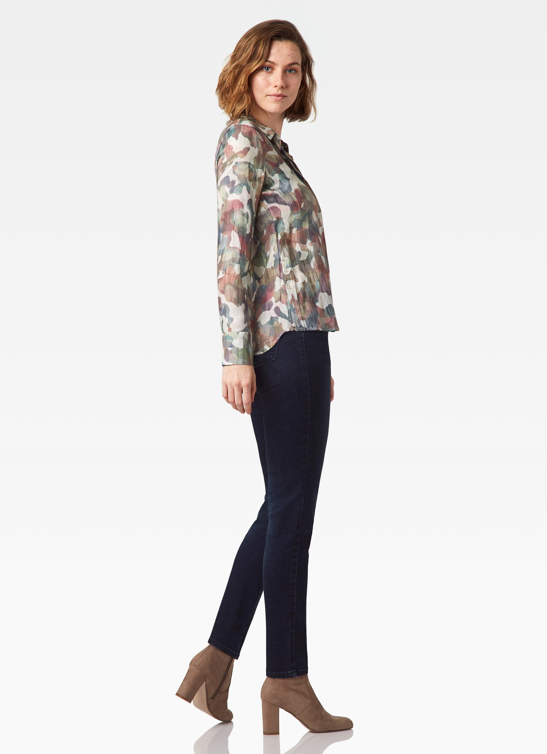 Streep Side Placket Shirt - Abstract Combo