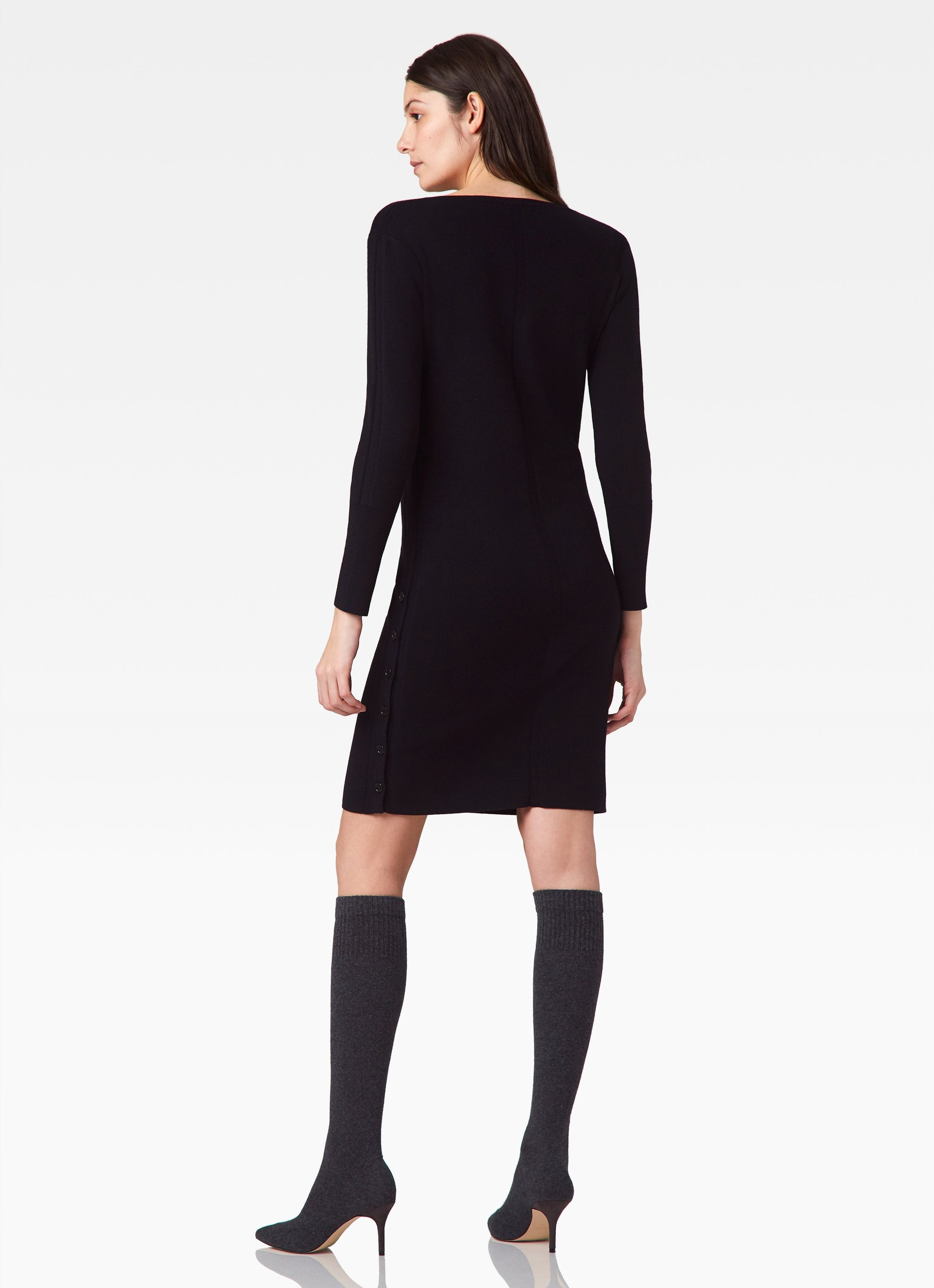 V-Neck Sweater Dress - Black
